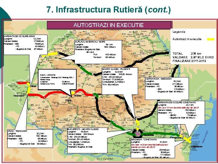 7. Infrastructura Rutieră (cont. ) AUTOSTRAZI IN EXECUTIE Legenda VARIANTA DE OCOLIRE ARAD Lungime: