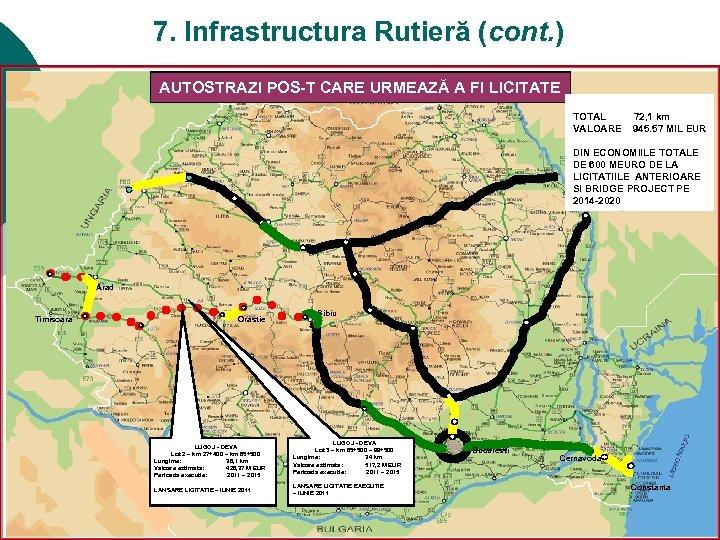7. Infrastructura Rutieră (cont. ) PROGRAMUL DE CONSTRUCTIE AUTOSTRAZI POS-T CARE URMEAZĂ A FI
