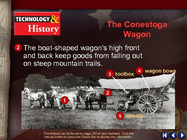 The Conestoga Wagon 2 The boat-shaped wagon's high front and back keep goods from