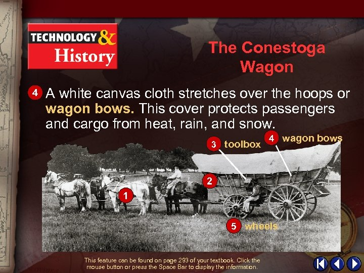 The Conestoga Wagon 4 A white canvas cloth stretches over the hoops or wagon