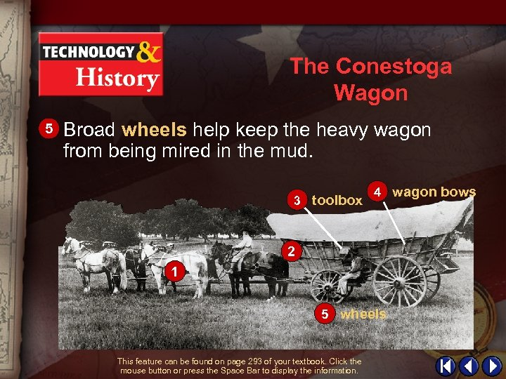 The Conestoga Wagon 5 Broad wheels help keep the heavy wagon from being mired
