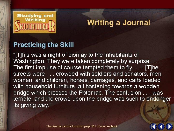 "Writing a Journal Practicing the Skill ""[T]his was a night of dismay to the"