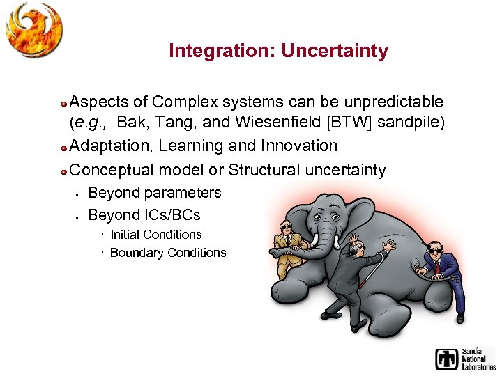 Integration: Uncertainty Aspects of Complex systems can be unpredictable (e. g. , Bak, Tang,