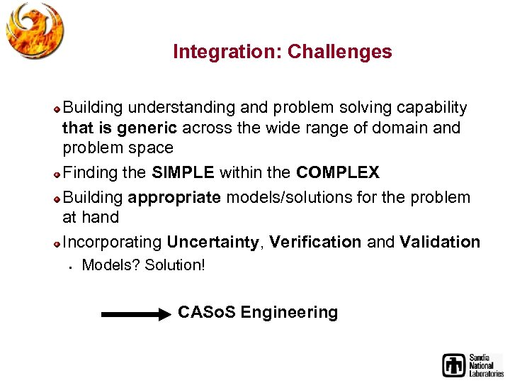 Integration: Challenges Building understanding and problem solving capability that is generic across the wide