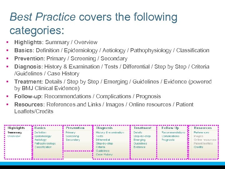 Best Practice covers the following categories: § § § § Highlights: Summary / Overview