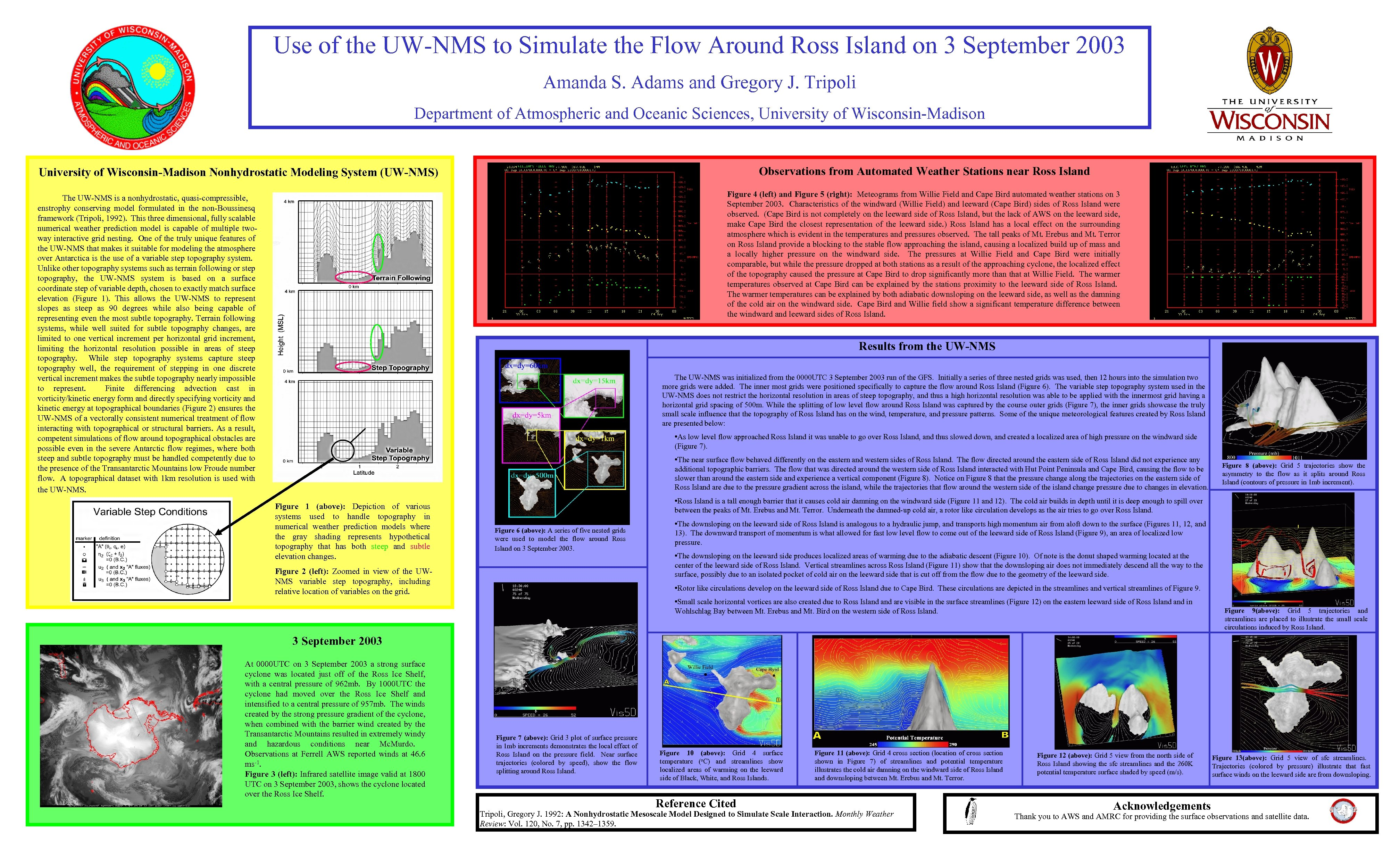 Use of the UW-NMS to Simulate the Flow Around Ross Island on 3 September