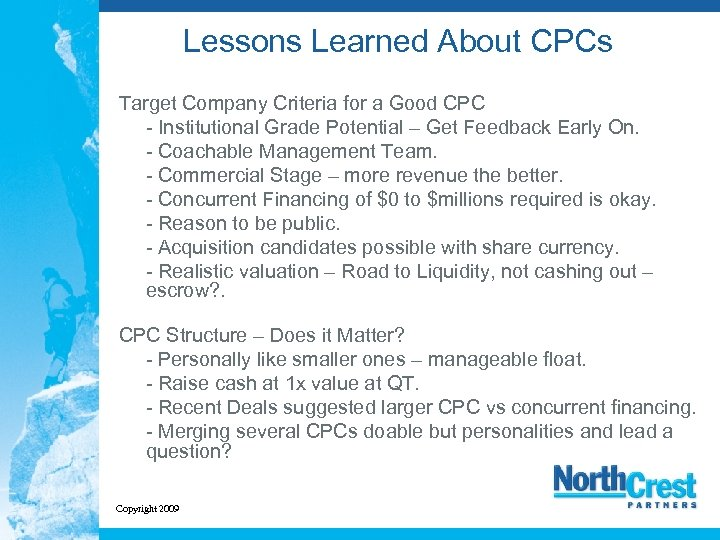 Lessons Learned About CPCs Target Company Criteria for a Good CPC - Institutional Grade