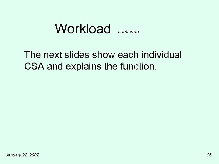 Workload - continued The next slides show each individual CSA and explains the function.