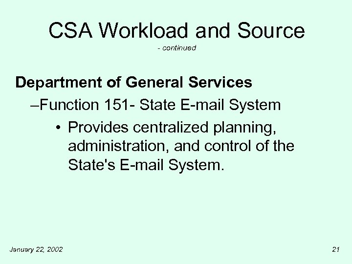 CSA Workload and Source - continued Department of General Services –Function 151 - State