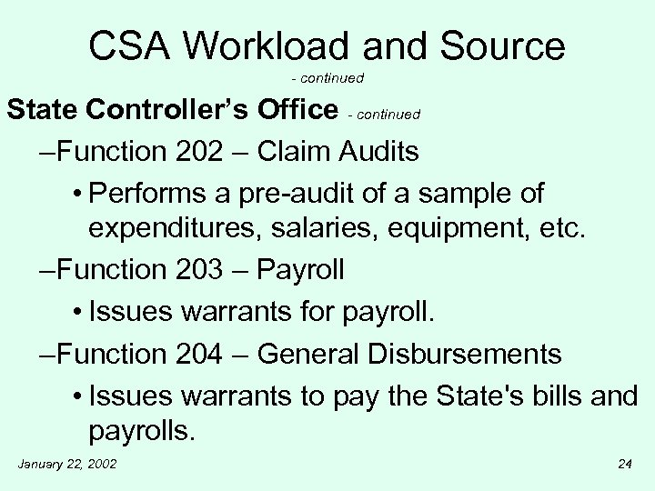 CSA Workload and Source - continued State Controller's Office - continued –Function 202 –