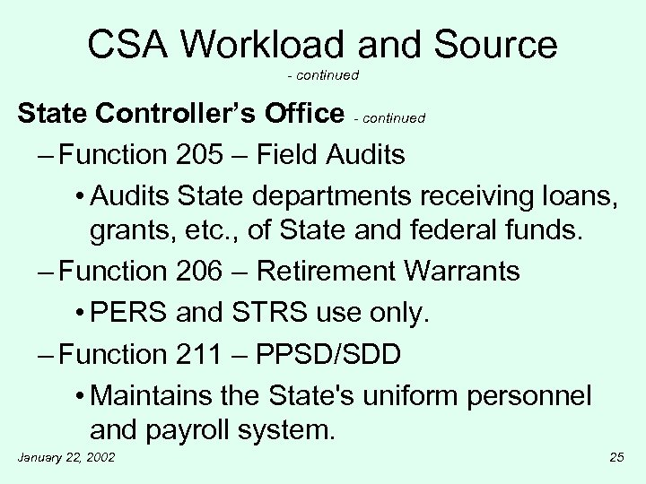 CSA Workload and Source - continued State Controller's Office - continued – Function 205