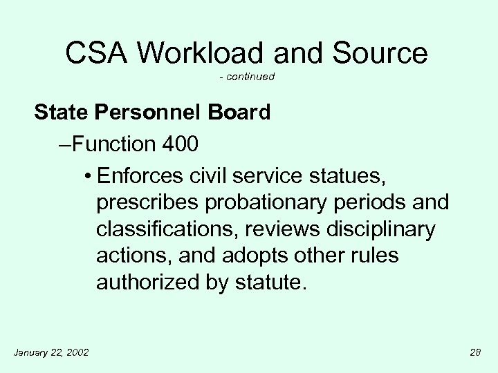 CSA Workload and Source - continued State Personnel Board –Function 400 • Enforces civil