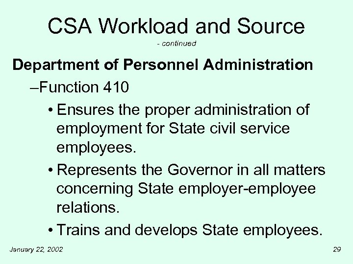 CSA Workload and Source - continued Department of Personnel Administration –Function 410 • Ensures