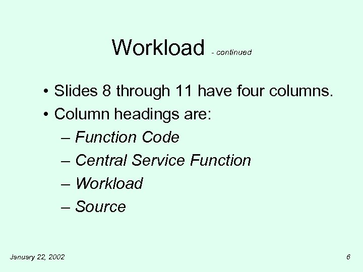 Workload - continued • Slides 8 through 11 have four columns. • Column headings