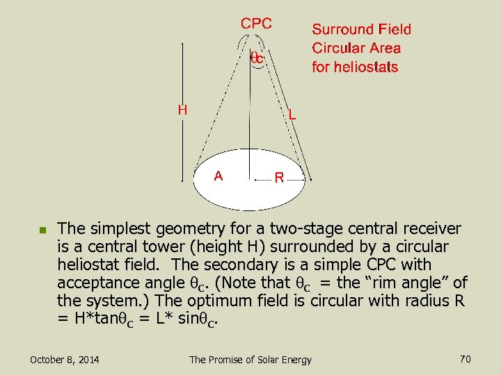 n The simplest geometry for a two-stage central receiver is a central tower (height