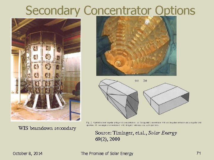 Secondary Concentrator Options WIS beamdown secondary October 8, 2014 Source: Timinger, et. al. ,
