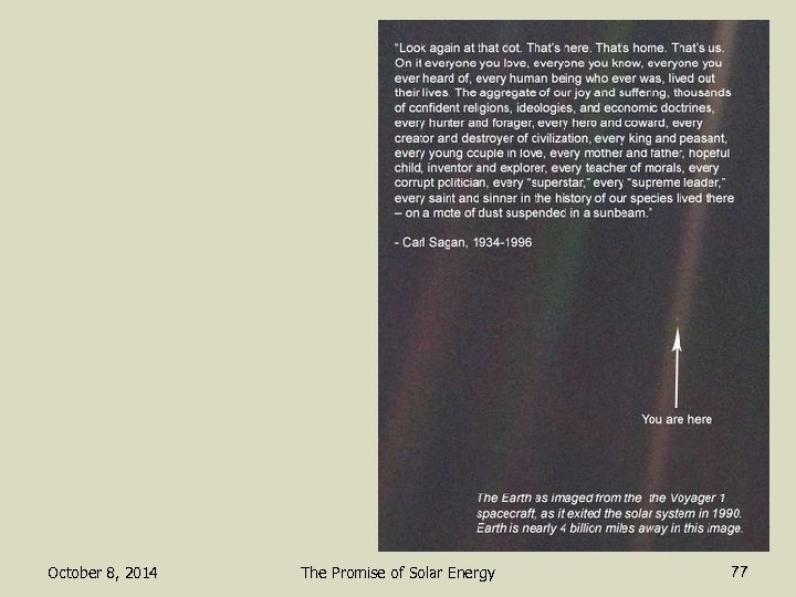 October 8, 2014 The Promise of Solar Energy 77