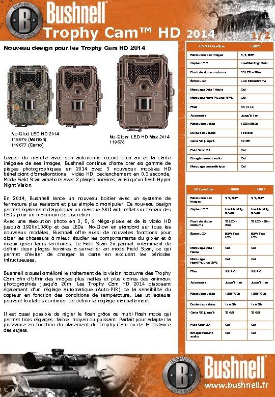 Trophy Cam™ HD 2014 Nouveau design pour les Trophy Cam HD 2014 1/2 HD