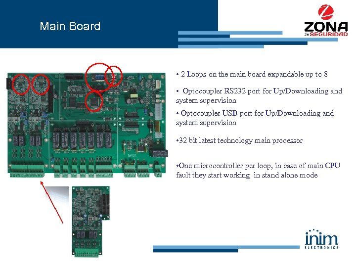 Main Board • 2 Loops on the main board expandable up to 8 •