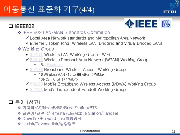 이동통신 표준화 기구(4/4) q IEEE 802 v IEEE 802 LAN/MAN Standards Committee ü Local