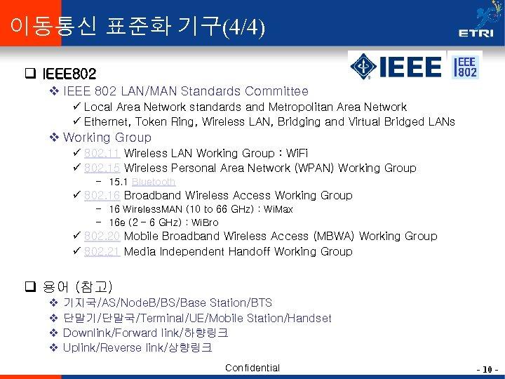 이동통신 표준화 기구(4/4) q IEEE 802 v IEEE 802 LAN/MAN Standards Committee ü Local