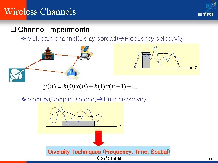 Wireless Channels q Channel impairments v Multipath channel(Delay spread) Frequency selectivity f v Mobility(Doppler