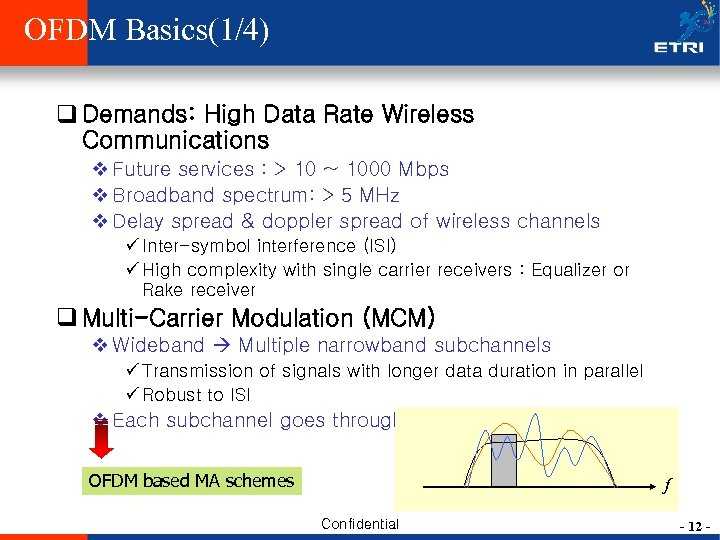 OFDM Basics(1/4) q Demands: High Data Rate Wireless Communications v Future services : >