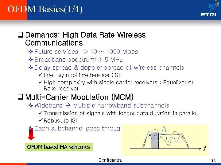 OFDM Basics(1/4) q Demands: High Data Rate Wireless Communications v Future services : >