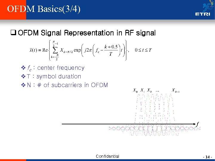 OFDM Basics(3/4) q OFDM Signal Representation in RF signal v fc : center frequency