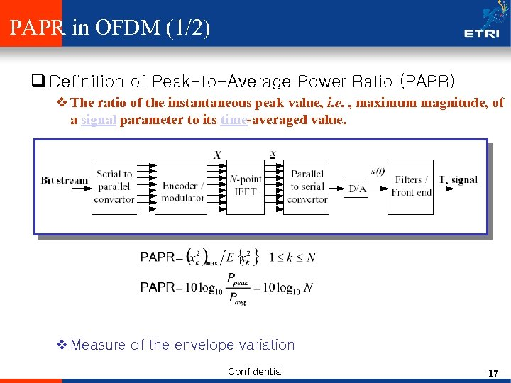 PAPR in OFDM (1/2) q Definition of Peak-to-Average Power Ratio (PAPR) v The ratio