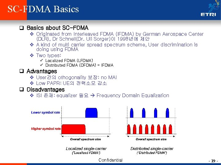SC-FDMA Basics q Basics about SC-FDMA v Originated from Interleaved FDMA (IFDMA) by German