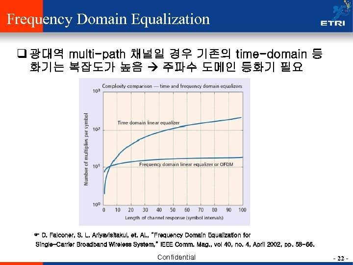 Frequency Domain Equalization q 광대역 multi-path 채널일 경우 기존의 time-domain 등 화기는 복잡도가 높음