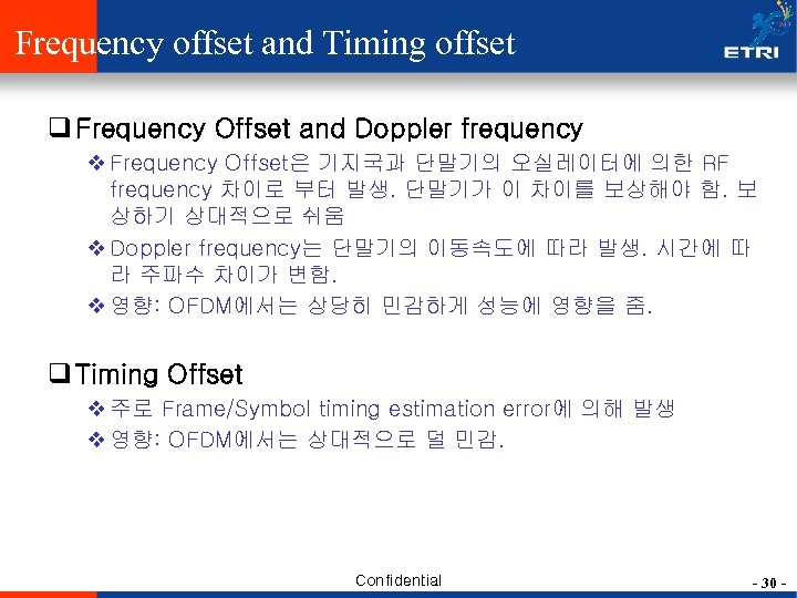 Frequency offset and Timing offset q Frequency Offset and Doppler frequency v Frequency Offset은