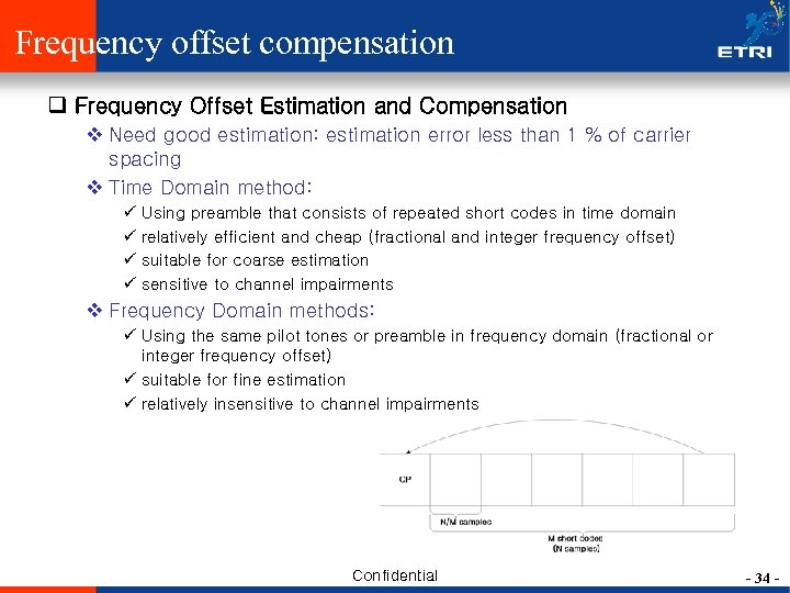 Frequency offset compensation q Frequency Offset Estimation and Compensation v Need good estimation: estimation