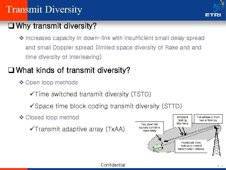 Transmit Diversity q Why transmit diversity? v Increases capacity in down-link with insufficient small