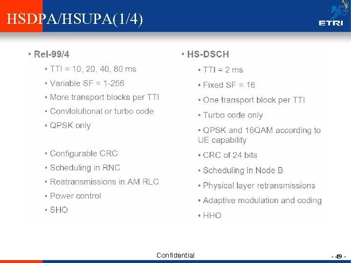 HSDPA/HSUPA(1/4) Confidential - 49 -
