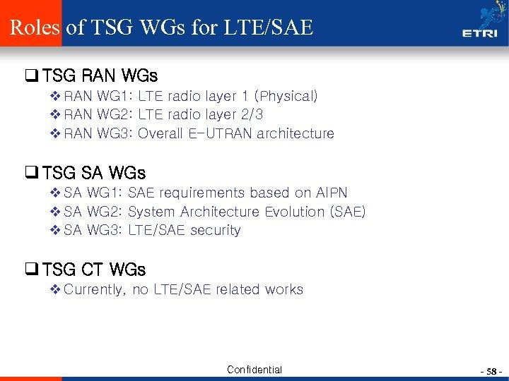 Roles of TSG WGs for LTE/SAE q TSG RAN WGs v RAN WG 1: