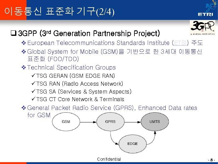 이동통신 표준화 기구(2/4) q 3 GPP (3 rd Generation Partnership Project) v European Telecommunications
