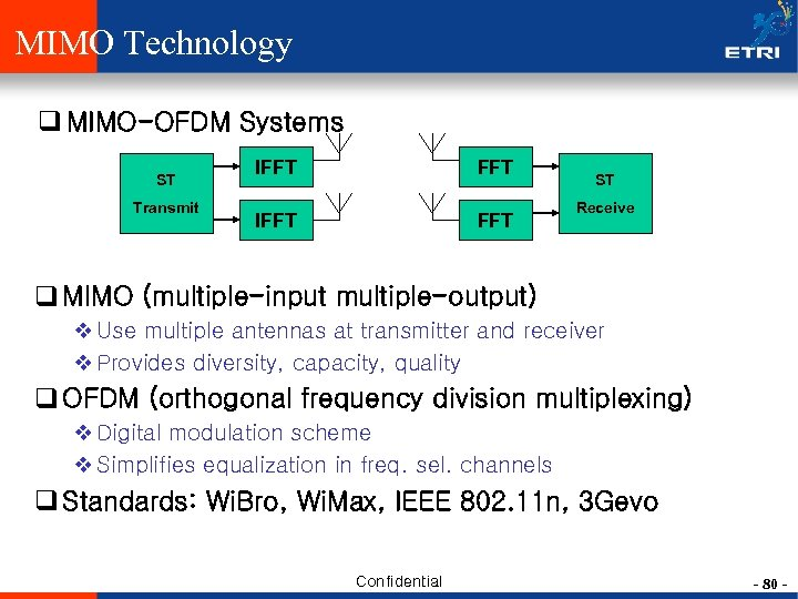 MIMO Technology q MIMO-OFDM Systems ST Transmit IFFT FFT ST Receive q MIMO (multiple-input