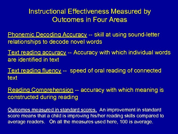 Instructional Effectiveness Measured by Outcomes in Four Areas Phonemic Decoding Accuracy -- skill at