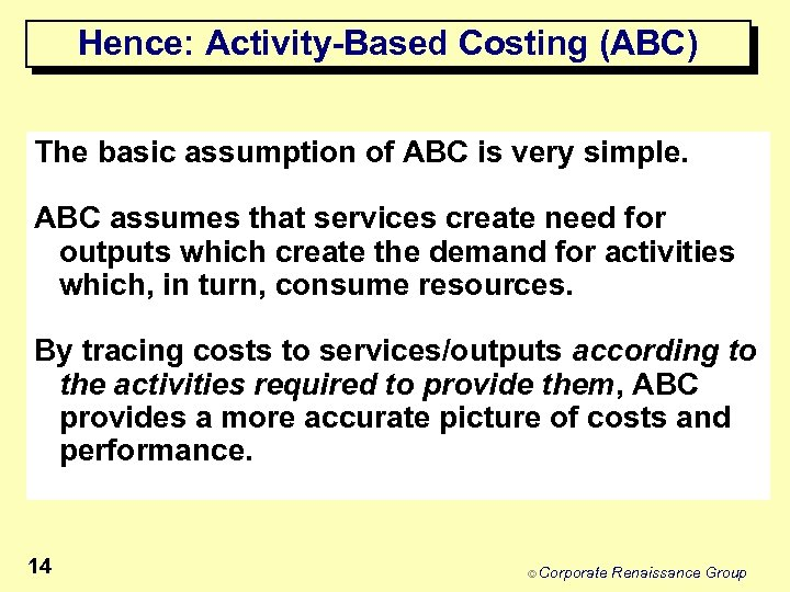 Hence: Activity-Based Costing (ABC) The basic assumption of ABC is very simple. ABC assumes