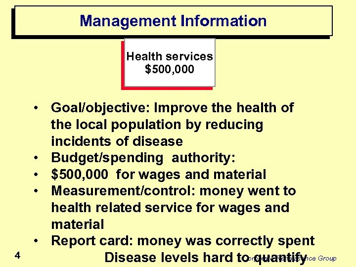 Management Information Health services $500, 000 4 • Goal/objective: Improve the health of the