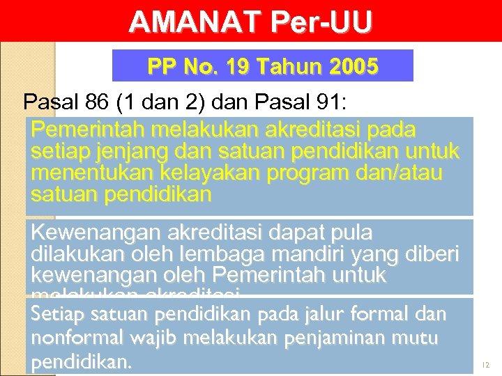 AMANAT Per-UU PP No. 19 Tahun 2005 Pasal 86 (1 dan 2) dan Pasal