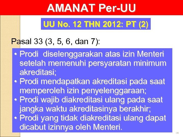 AMANAT Per-UU UU No. 12 THN 2012: PT (2) Pasal 33 (3, 5, 6,