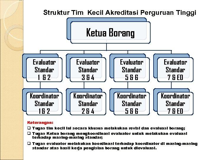 Struktur Tim Kecil Akreditasi Perguruan Tinggi Ketua Borang Evaluator Standar 1 &2 Evaluator Standar