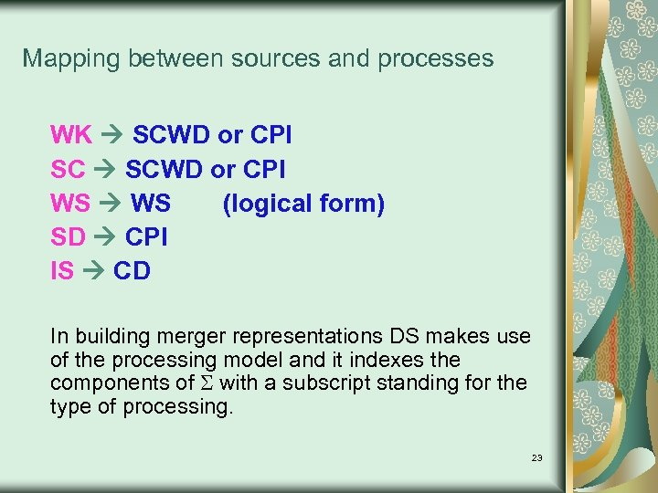 Mapping between sources and processes WK SCWD or CPI SC SCWD or CPI WS