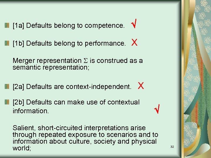 [1 a] Defaults belong to competence. [1 b] Defaults belong to performance. X Merger