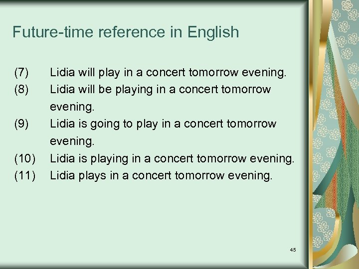 Future-time reference in English (7) (8) (9) (10) (11) Lidia will play in a