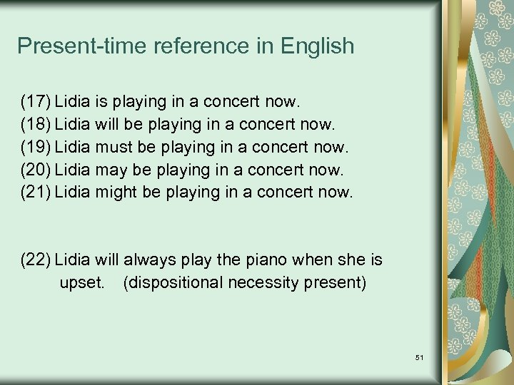 Present-time reference in English (17) Lidia is playing in a concert now. (18) Lidia