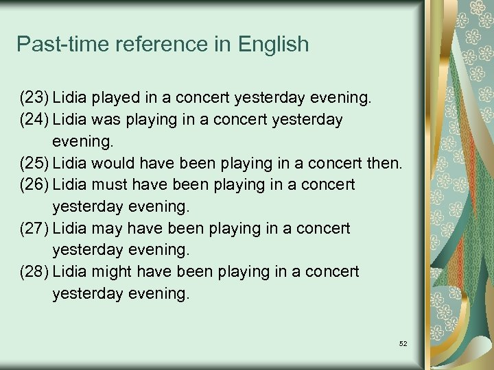 Past-time reference in English (23) Lidia played in a concert yesterday evening. (24) Lidia